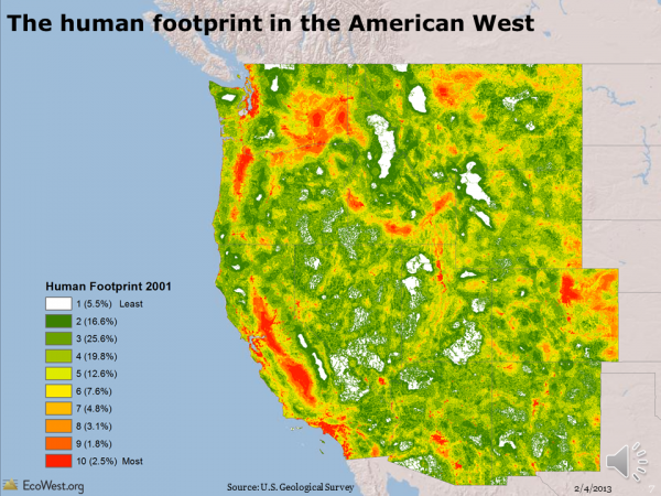 Human footprint in American West
