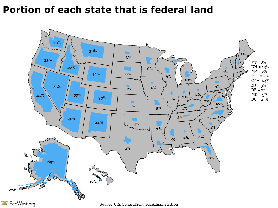 Who Owns The West Federal Land By State EcoWestorg - Us federal lands map