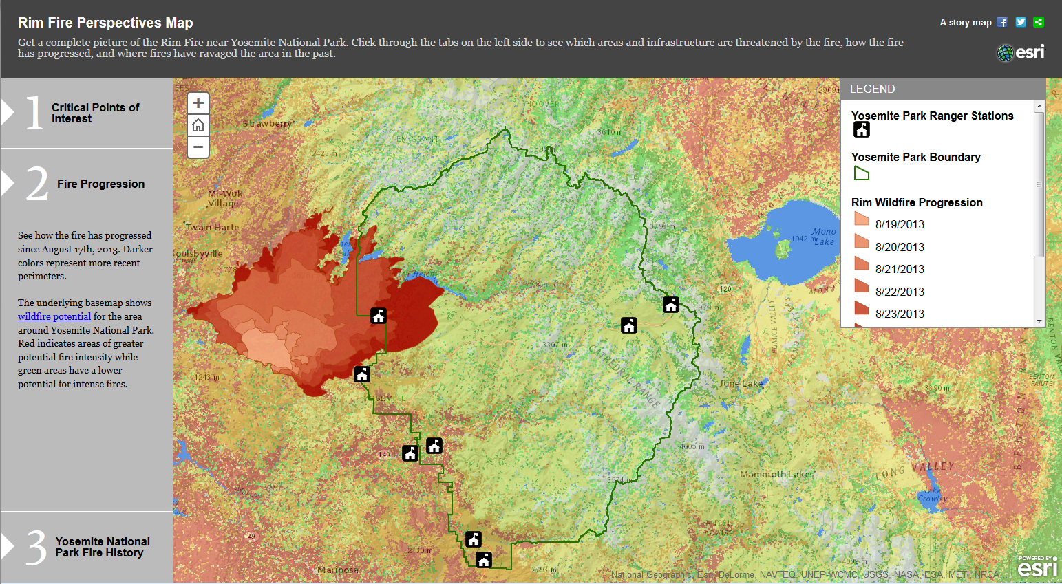 Viewing the Yosemite Rim Fire in context: images, maps, and graphics